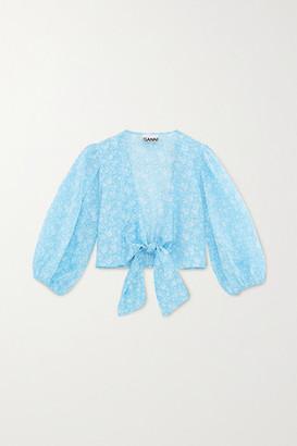 Ganni Tie-front Floral-print Cotton-voile Top - Light blue