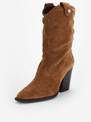 Steve Madden Yonne Calf Boots - Taupe Suede