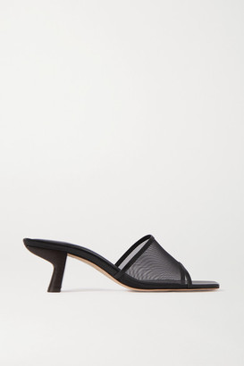 BY FAR Lily Leather-trimmed Mesh Mules - Black