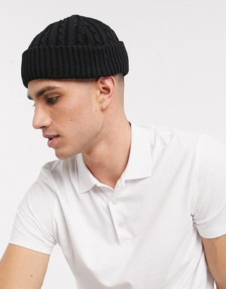 ASOS DESIGN mini fisherman beanie in black cable knit