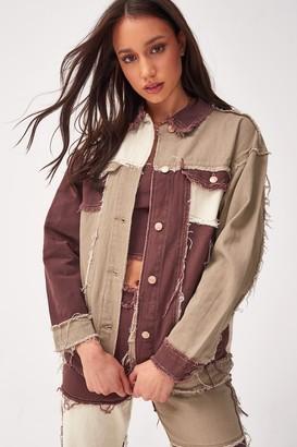 Jaded London Womens **Patchwork Denim Jacket By Brown