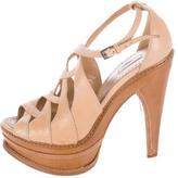 Alaia Leather Platform Sandals