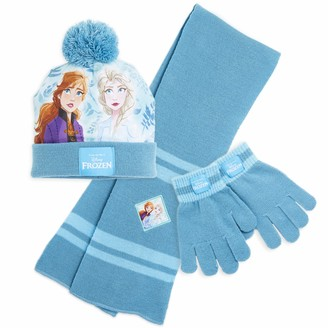 Disney Frozen Girls Hat Scarf And Gloves Set with Anna and Elsa Frozen Accessories for Girls