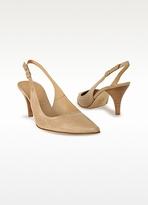 Borgo degli Ulivi Sand Italian Calf Leather Pointed Slingback Shoes