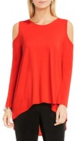 Vince Camuto Women's Cold Shoulder Mixed Media Top