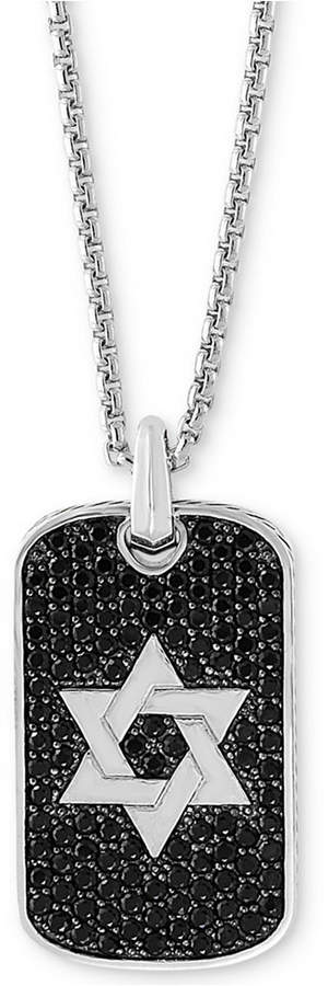 "Effy Black Sapphire Star of David Dog Tag 22"" Pendant Necklace (2 ct. t.w.) in Sterling Silver"