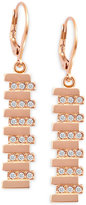 T Tahari Rose Gold-Tone Crystal Drop Earrings