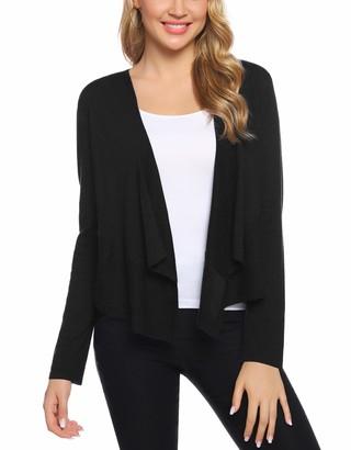 Aibrou Women Black Cardigans Lightweight Long Sleeve Open Front Cardigan Irregular Hem Knitted Cropped Bolero Shrug Sweater Tops
