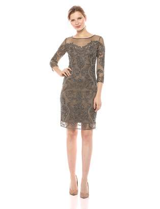 Pisarro Nights Women's Short Dress with Illusion Neck and Floral Beading
