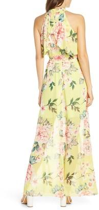 Brinker & Eliza Floral Popover Chiffon Maxi Dress