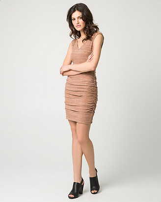 Le Château Melange Rib Knit V-Neck Mini Dress