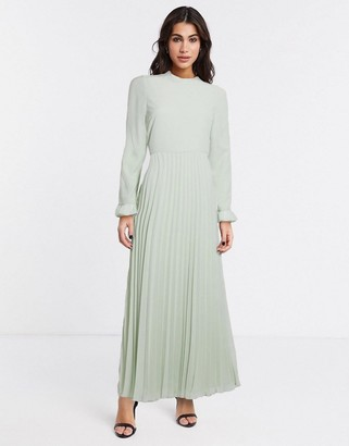 ASOS DESIGN pleated maxi dress with fluted sleeve in green