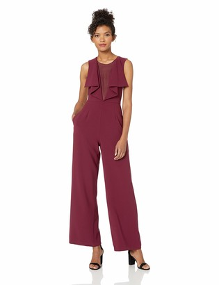 BCBGMAXAZRIA Women's Raymee Woven Jumpsuit with Ruffle Front and Lace Detail