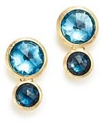 Marco Bicego 18K Yellow Gold Jaipur Mixed Blue Topaz Climber Stud Earrings