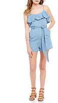 GB Chambray Front-Pockets Ruffle Yoke Romper