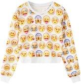 Jiayiqi Girls Fashion Letter Printing Round Neck Crop Top Sweatshirt Jumper