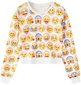 Jiayiqi Teen Girl's Casual Crew Neck Sweatshirt Tops Sweet Cream Sweater Jumper
