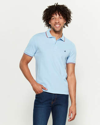 Brooksfield Tipped Color Stretch Pique Short Sleeve Polo