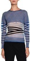Giorgio Armani Sheer Striped Crewneck Sweater, Blue/Multi