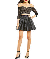 B. Darlin Lace Off-The-Shoulder Top Two-Piece Fit-and-Flare Dress