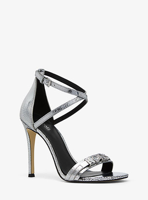 MICHAEL Michael Kors Goldie Crackled Metallic Leather Sandal