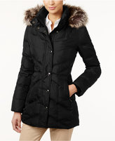 London Fog Petite Faux-Fur-Trim Hooded Down Puffer Coat