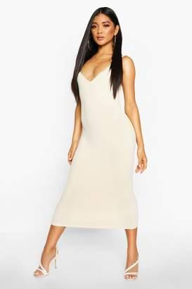 boohoo Premium Rib Knit Bandage Midi Dress