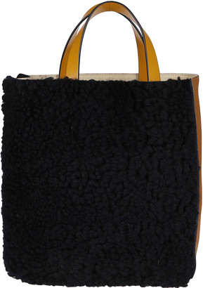 Marni Tan Leather And Black Fur Museo Tote Bag