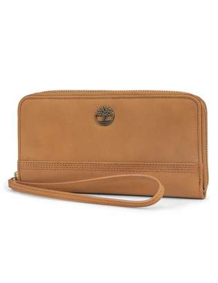 Timberland Leather RFID Zip Around Wallet Clutch with Wristlet Strap