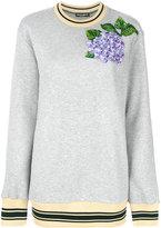 Dolce & Gabbana embroidered hydrangea sweatshirt - women - Cotton/Calf Leather/Polyester - 38