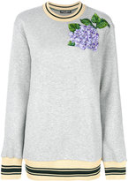 Dolce & Gabbana embroidered hydrangea sweatshirt - women - Cotton/Calf Leather/Polyester - 42