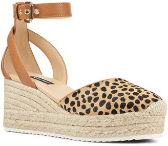 Nine West Adjustable Calf Hair Espadrille Wedges - Audra