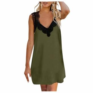 Younthone Women's Mini Dress Sexy Sleeveless Lace Camisole Midi Skirt Casual Loose Dress Green