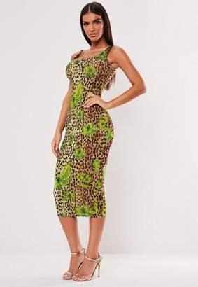 Missguided Brown Leopard Print Butterfly Mix Midi Dress