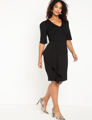 ELOQUII Sharp Shoulder Work Dress