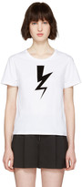 Neil Barrett White Thunderbolt Patch T-shirt