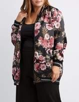 Charlotte Russe Plus Size Floral Satin Longline Bomber Jacket