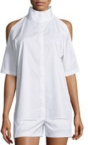DKNY Cold-Shoulder Mock-Neck Poplin Top, White