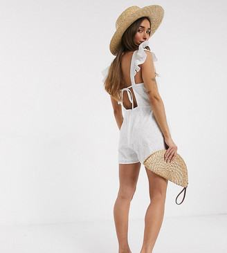 ASOS DESIGN Petite shell broderie romper with frill sleeve in white