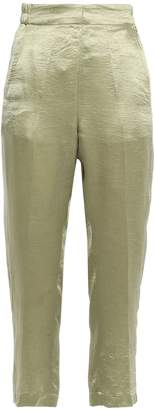 Ann Demeulemeester Cropped Crinkled-satin Tapered Pants