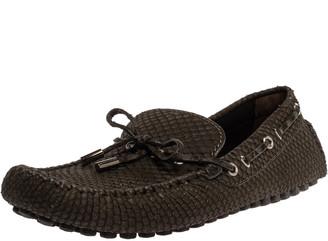 Louis Vuitton Dark Green Python Bow Loafers Size 41.5