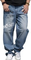 RUIXI Men's Loose Baggy Prints Denim Long Pants Hip Hop Skateboard Jeans