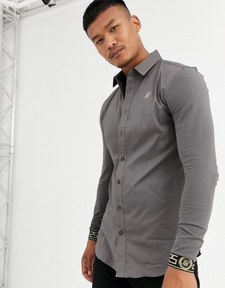 SikSilk muscle fit long sleeve shirt in gray with cuff embroidery
