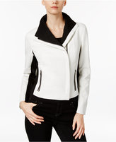 INC International Concepts Petite Colorblocked Moto Jacket, Only at Macy's