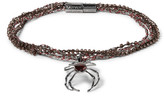 Lanvin Gunmetal-tone, Bead And Stone Wrap Bracelet - Brown