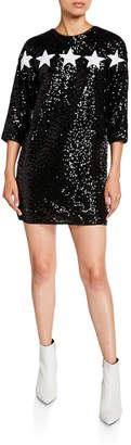 Aidan Mattox Star Applique 3/4-Sleeve Sequin Cocktail Dress