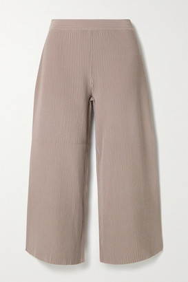 Theory Henriet Cropped Ribbed-knit Wide-leg Pants - Taupe