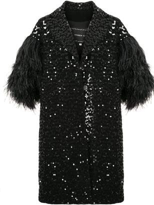 Andrew Gn feather-sleeved sequin coat