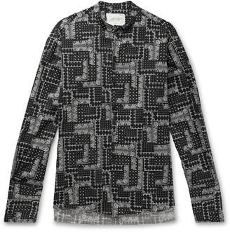Greg Lauren Grandad-Collar Paisley-Print Cotton Shirt