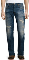 G Star G-Star Wils Distressed Slim-Fit Denim Jeans, Blue